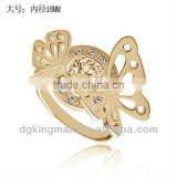 Top Sale Real Gold Plating Animal Rings Butterfly Rings With Austrian Crystal