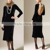 Autumn Winter Women's Fashion Slim Round-neck Sexy Backless Design Long Sleeve Dress L1353