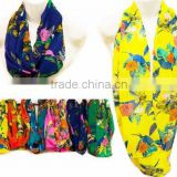 Wholesale Floral Printed Bright Color Infinity Scarves Scarf