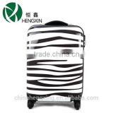 Zebra trolley luggage sets with retractable luggage handles, ABS+PC baggage