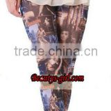thin trousers sexy lady leggings with full film pattern