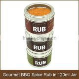 Gourmet BBQ Spice Rub in 120ml Aluminum Jar with See Through Cap