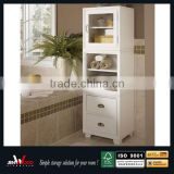 glass door double drawers white finish E1 MDF corner bath cabinets