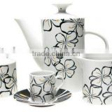 Ceramic Tea Set, Porcelain Coffee Set With Decal