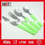BSCI, FDA, LFGB, promotional coloured plastic handle dinner set;alibaba online cheap cutlery