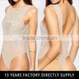 Sexy backless skin color nude embroidered body suits women bodysuit