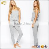 Ecoach Wholesale OEM Ladies Sleeveless Scoop Neckline Side Pockets Elastic Drawstring Waist Jumpsuit Pajama