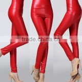 wholesale plain womens tight pants/sexy faux leather high waist leggings stretch PU pants laides skinny trousers