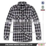 2016 Men Checked style White black plaids Long sleeve flannel shirts two fashion pockets