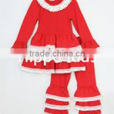 Christmas wholesale children's boutique clothing triple ruffles girls outfits red lace ruffle tunic and pants set