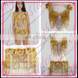 Aidocrystal High Quality Shine Belly Dance Gold Handmade Beads Bra and Blet Set