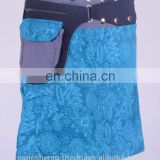 Lovely Crystal Blue Shade Exotic Print Gypsy Wrap Around Skirt With Belt HHCS 111 G