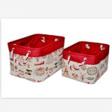 rectangle fabric storage basket with cotton rope handle