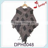 2015 Hot sale New fashion Clothing crochet Knitting Poncho Women Sweater for wholesale with holes and tassels