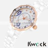 Luxury Unisex White Ceramic Watch with Crystals and a Mother of Pearl Dial