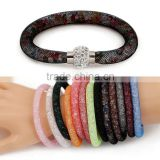 Hot sale Stardust Mesh Single Wrap Bracelets With Crystal stones Filled Magnetic Clasp Charm Wristband Bangles