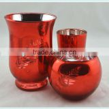 Red embossed glass candle holder