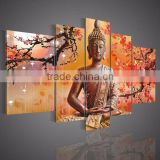 Orange Skilled Artist Hand-painted High Quality Buddha Oil Painting On Canvas India Buddhism Oil Painting For Wall Decor