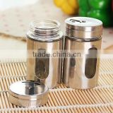 Stainless steel spice bottles salt sugar seasoning pepper shaker with rotating cover barbecue sauce shaker
