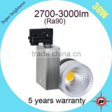 5 years warranty 30w led cob track light(10-100w available) black led track lightng                                                                                                         Supplier's Choice