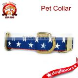 American Star 1 inch wide brass Dog Collar, buckle or martingale, liberty, memorial, fourth of july, red, white, brass, blue fla
