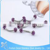 China manufacturer piercing medical steel purple crystal custom eyebrow rings