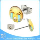 ZS20471 New fashion cry emoji stud earring 316 stainless steel earring post