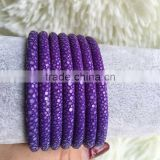 luxury stingray leather brilliant purple cord real fish skin leather for fashion bracelet DIY style OEM supplier