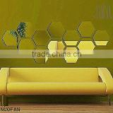 Acrylic modern DIY hexagon Removable Furniture decoration mirror Wall Sticker                                                                         Quality Choice