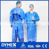 AAMI Level 3 Disposable Nonwoven Blue Over Head Poly Coated Surgical Coat/Isolation Gown/Surgical Gown