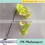 Long stem decorative artificial PU yellow phalaenopsis orchid