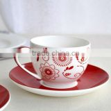 Lovely design ceramic porcelain tea set with cup saucers and ladle