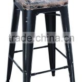 High Quality Dining Room Metal Bar Chair With Wood Seat Stackable Industrial Metal Chairs Replica For Event HYG-09