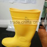 Yellow boots shoes plastic toe cap With pvc upper and rubber sole