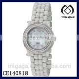 Fashion white ceramic calendar watch-Grace Mother-of-Pearl Ceramic Bracelet Womens Watch with calendar