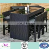 Rattan Bar Table and Stool Set PE Rattan Alum Frame