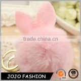 Factory Price Lovely Rabbit Fur Pompom Keychain fur pom ball with Gold Ring