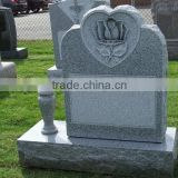 American Upright Sesame White Granite Headstone With Rose Carving