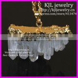 KJL-BD5283 Gold Plated Natural Clear Rock Crystal Quartz vug Cluster Druzy Pendant in Gold Chain,Crystal Drusy Pendant Necklace