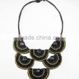 Black Agate Stone with Crystal and Natural stones Wax cotton thread with mixed natural stone, Stone necklace WT49