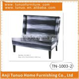 two seat sofa with white and black stripe fabric covered and piping around the back and seat cushion,TN-1003-2