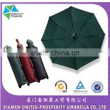 High quality pin-striped classic business auto auto and close 3-fold umbrella with round handle
