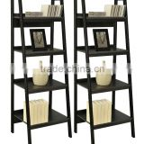 4 Shelf Ladder Bookcase Bundle with stainless steel