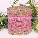 Nature decorative burlap jute ribbon lace bows for decoration jute bow barrette, woven fabric hair bow