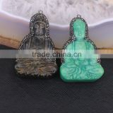 Carved Buddha With Zircon Pendant Bead Buddhist Pendant Crystal Zircon Natural Jade Guanyin Pendant