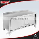 Restaurant And Hotel Stainless Steel Commercial Kitchen Cabinet With Sliding Doors