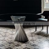 Special Design Hot Sale Plisse Travertine base Round Tempered Glass Top Dining Table On Sale