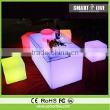 colorful LED glow plastic event chairs and tables for rental