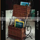 NEW WROUGHT IRON 2-TIER WICKER STORAGE RACK