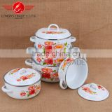 Enamel polished bulged cooking pot enamel casserole set stew pot enamel ceramic soup pot